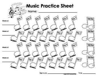My Music Homework, Practice & Teaching Log Sheets(Printables for ...