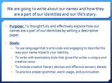 My Name Descriptive Paper Writing Unit