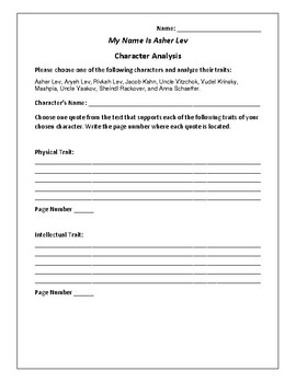 My Name Is Asher Lev - Character Analysis Activity - Chaim Potok