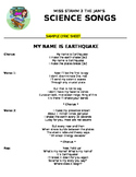 My Name Is Earthquake *SAMPLE* Lyric Sheet