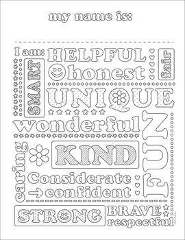 My Name Is: a positive self talk coloring sheet.