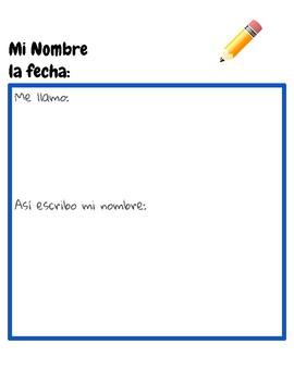 My Name Preschool Journal Page Bilingual English Spanish