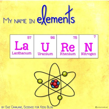 Freebie my name in elements science by science for kids by sue my name in elements science urtaz Choice Image