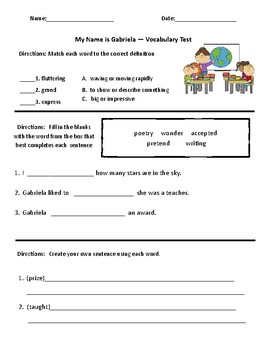 My Name is Gabriela- Comprehension & Vocabulary Test (Journeys)