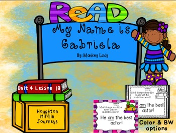 My Name is Gabriela Review Task Cards for Houghton Mifflin