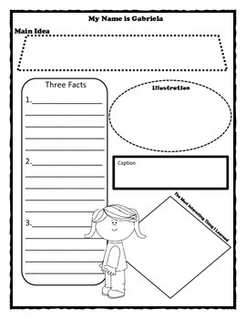 My Name is Gabriela Story Map Graphic Organizer