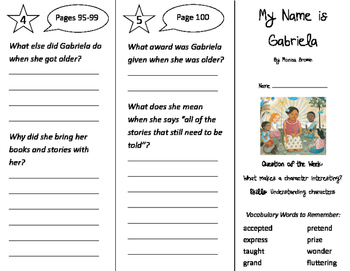 My Name is Gabriela Trifold - Journeys 2nd Grade Unit 4 Week 3 (2011)