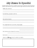My Name is Special - Meaning and Origin of Name Worksheet