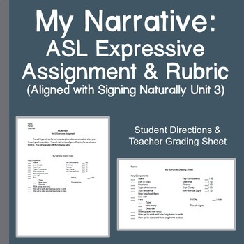 My Narrative ASL Expressive Assignment Rubric Signing Naturally Unit 3
