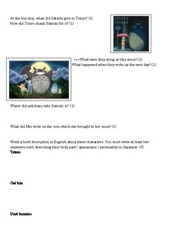 My Neighbour Totoro Worksheet for year 8