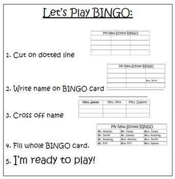 My New Class BINGO - A Transition Activity for Autism and Special Education