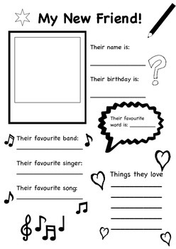 my new friend ice breaker activity worksheet for back to school. Black Bedroom Furniture Sets. Home Design Ideas