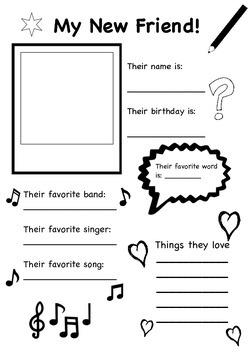 My New Friend - Ice Breaker Activity Worksheet for Back to School