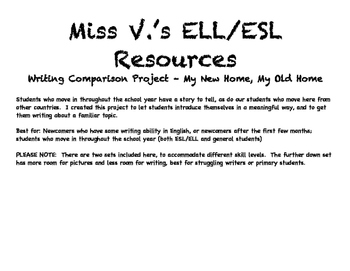 My New Home, My Old Home - Writing comparison for ELLs and Students who Move In