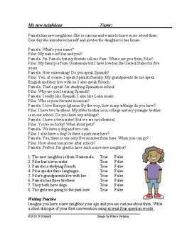 My New Neighbour Reading with Question Words / Interrogatives - ESL / EFL / ELL