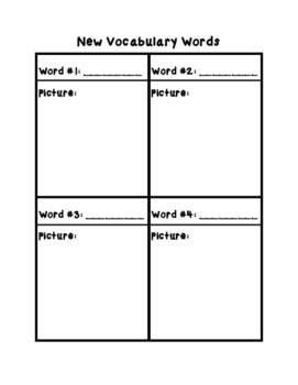 My New Vocab Words Worksheet/Booklet