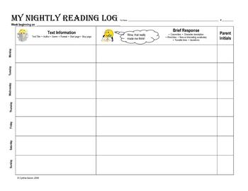 My Nightly Reading Log