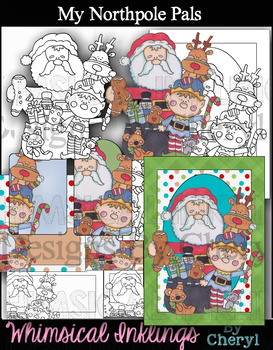 My Northpole Pals~ Christmas Clipart and Printables~ with Lineart