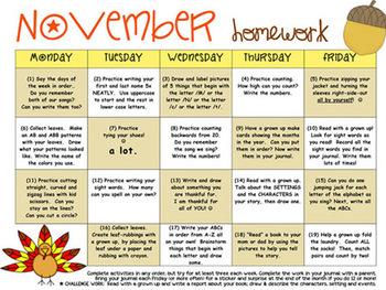 My November Homework Calendar