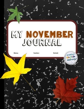 November Journal Writing Prompts with Printable Pages for Secondary ELA