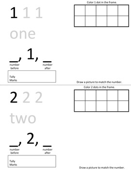 My Number Book 0-20 Math Counting and Cardinality