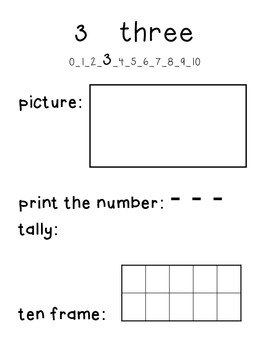 My Number Book- a book for introducing numbers 0-10