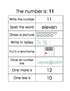 My Number Journal 10-20