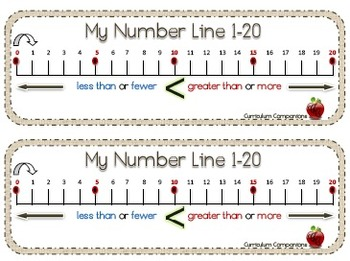 My Number Line 0-20 Greater Than or Less Than Bookmark
