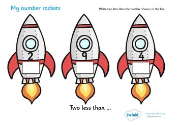 My Number Rockets Activity (Two Less)