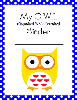 my owl binder homework take home folder cover page by kelly maxwell