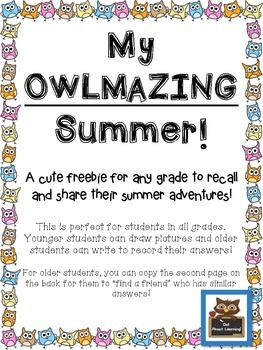 My OWLMAZING Summer Freebie!