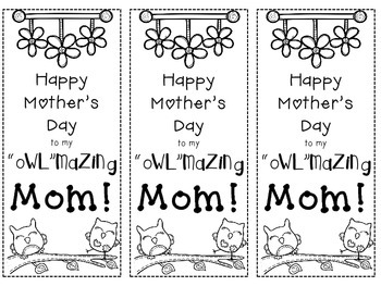 "My ""OWL""mazing Mom Bookmark Freebie!"
