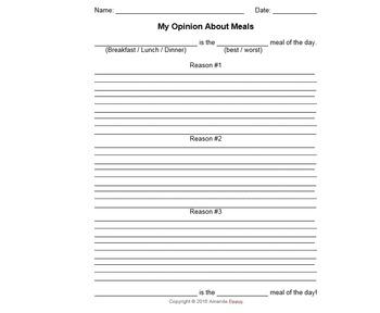 My Opinions (Opinion/Persuasive Writing Template)