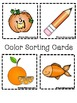 Color Book;Orange Book; 3 Worksheets; Cut/Paste Activity; Color Sort Activity
