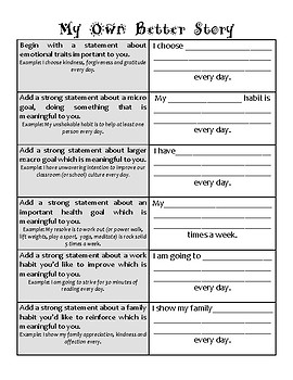 My Own Better Story template: Jensen Growth Mindset writing