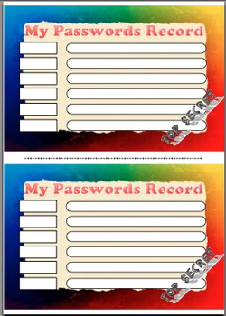 My Passwords Record for Students
