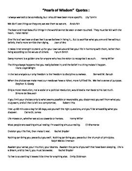 My Pearls Of Wisdom Wellness Worksheet