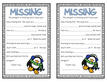 My Penguin is Lost! (Glyph, Descriptive Writing, Graphing, Apostrophes)