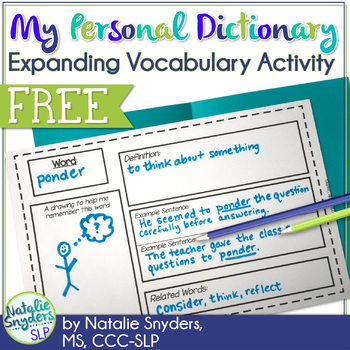 My Personal Dictionary: An Expanding Vocabulary Activity - Freebie