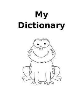 My Personal Dictionary - Frog Themed