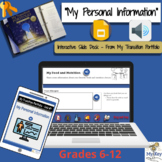 My Personal Information - Interactive Google Slides for IE