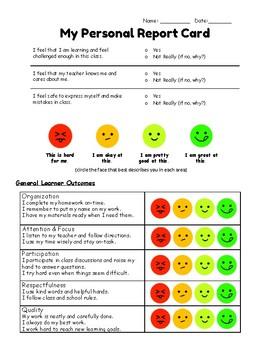 My Personal Report Card - Self Assessment