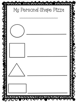 My Personal Shape Pizza Worksheet