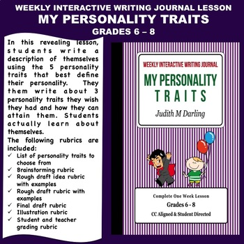 Interactive Weekly Writing Notebook Lesson - My Personality Traits-CC Aligned