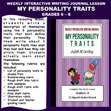 Interactive Weekly Writing Journal Lesson - My Personality Traits-CC Aligned