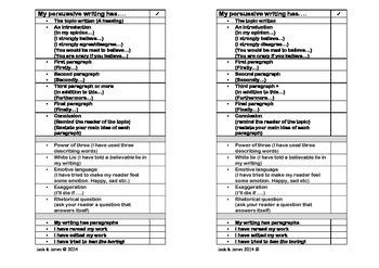 My Persuasive Writing Has..... Persuasive Writing Checklist {Self Assessment}