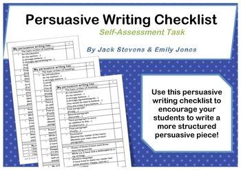 My Persuasive Writing Has..... Persuasive Writing Checklis