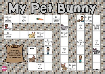 My Pet Bunny Themed Game Board