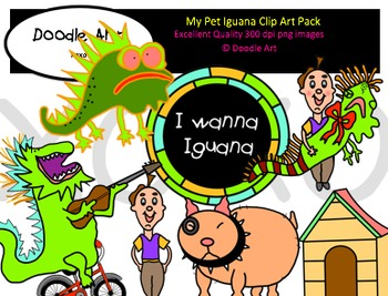 My Pet Iguana Clipart Pack