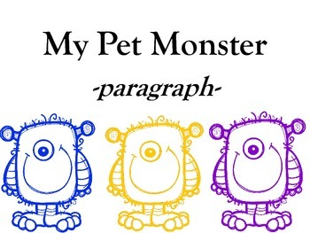 My Pet Monster Paragraph FREEBIE